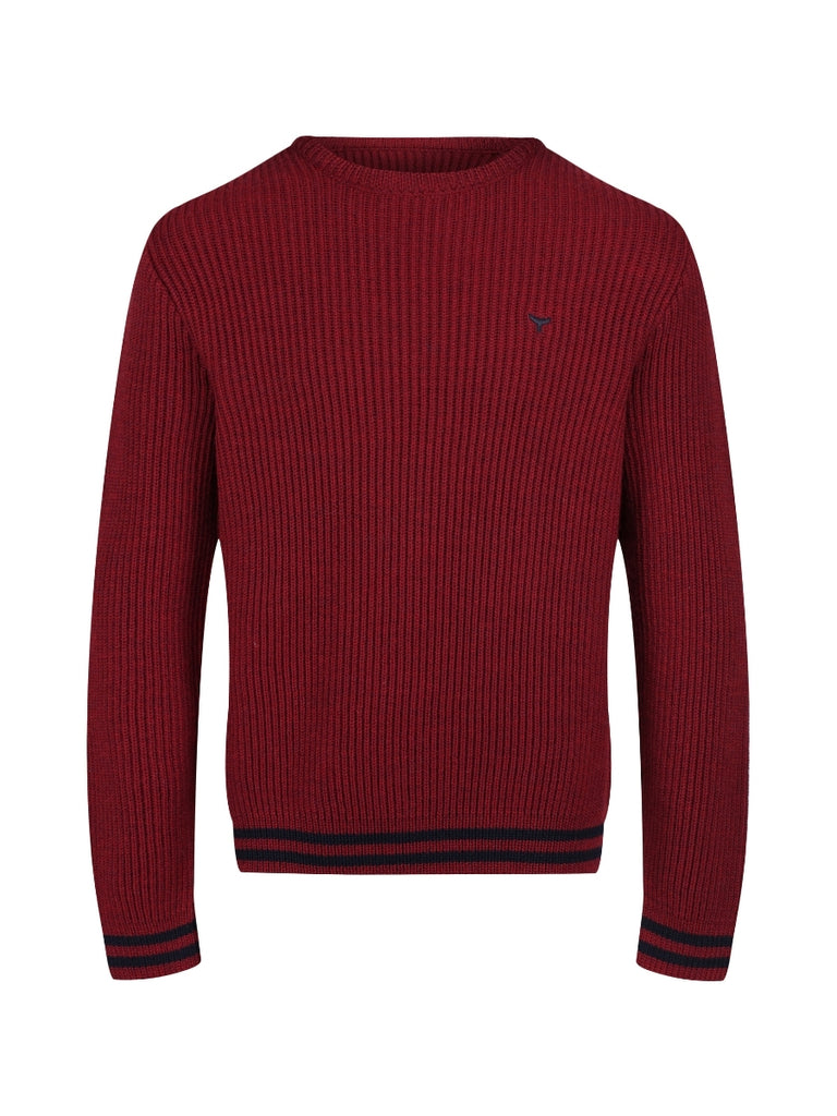 Men's Henley Ribbed Jumper - Red/Navy - Whale Of A Time Clothing
