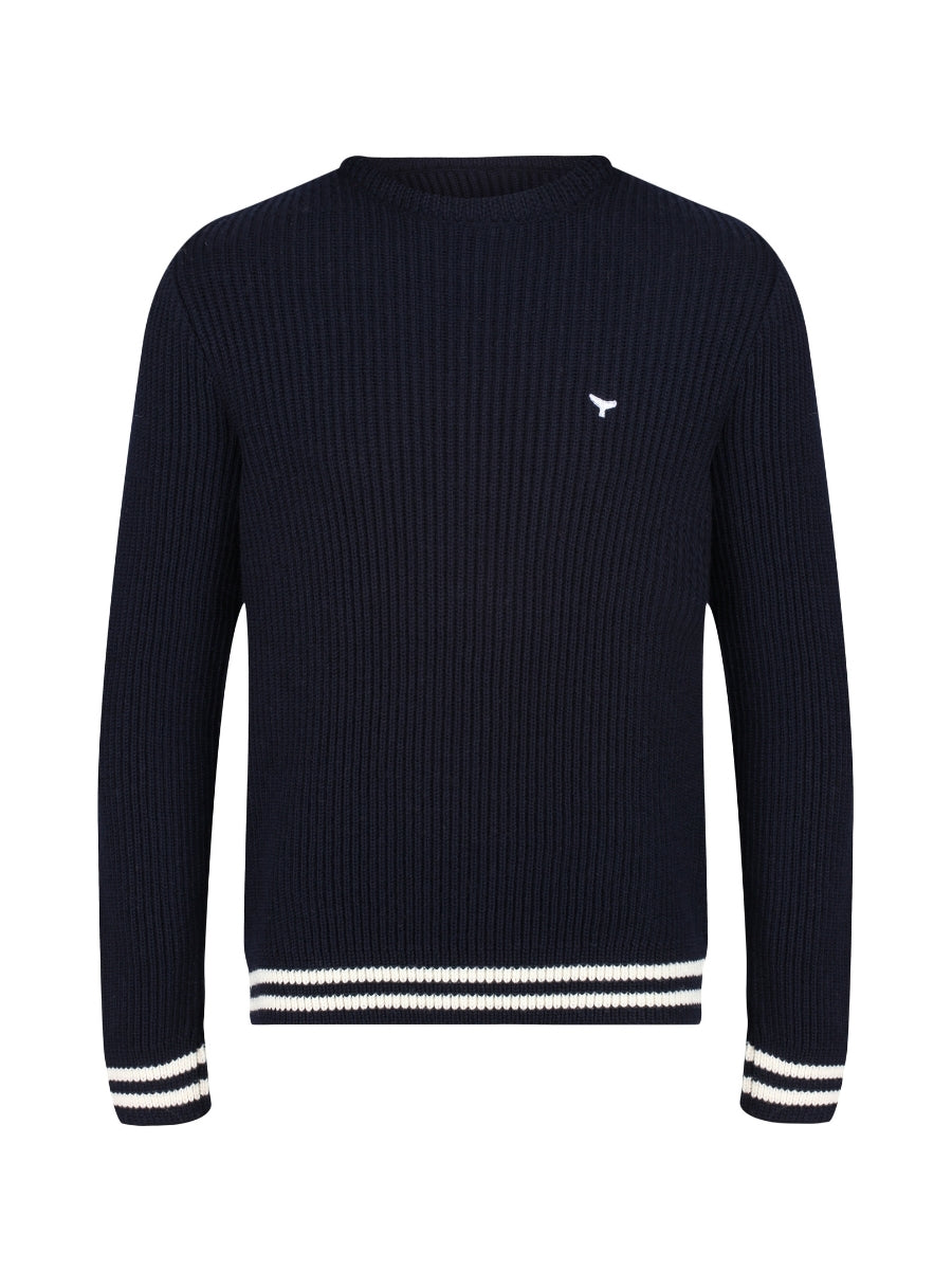 Henley Ribbed Jumper - Navy - Whale Of A Time Clothing