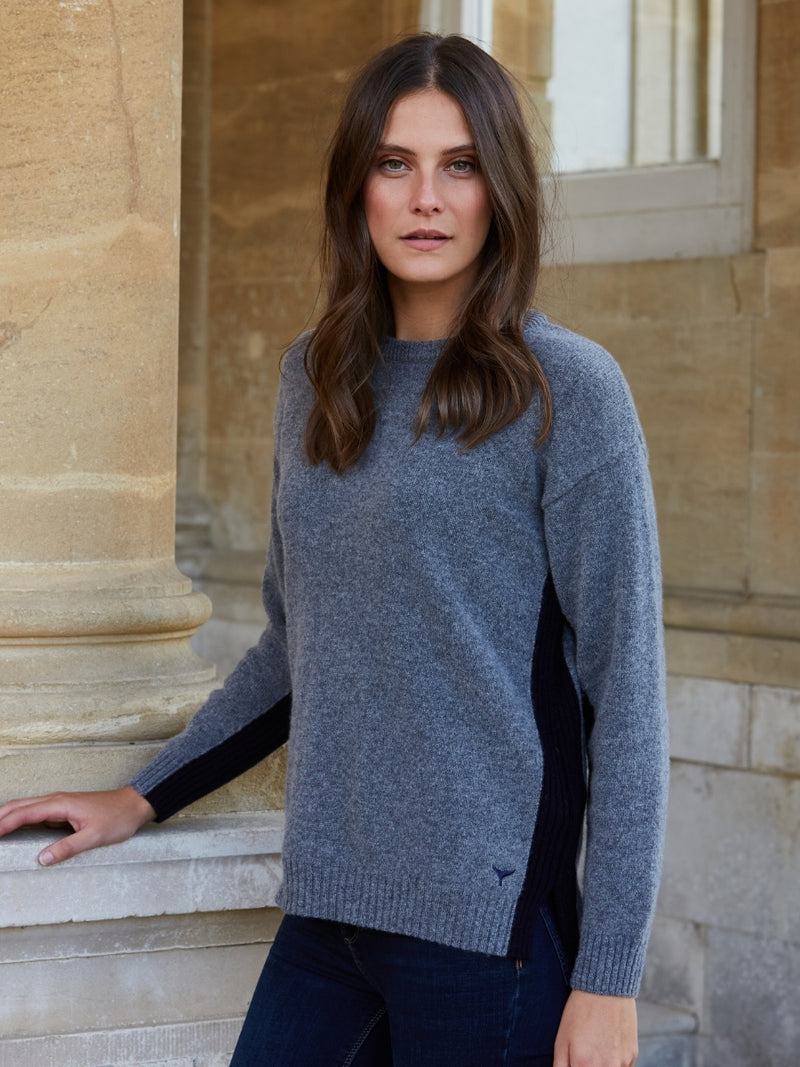 Women's Kensington Round Neck Jumper - Dark Grey/Navy - Whale Of A Time Clothing