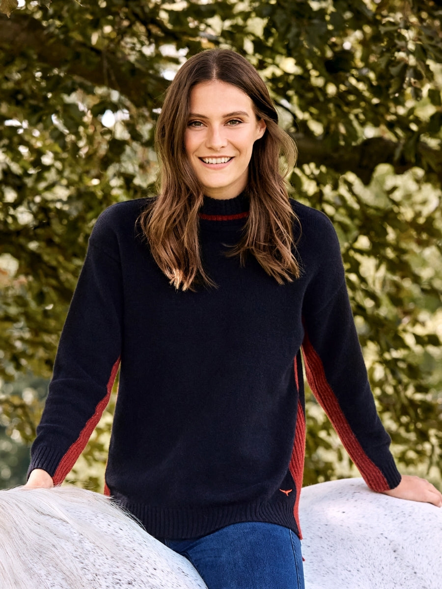 Women's Kensington Roll Neck Jumper - Navy/Red - Whale Of A Time Clothing