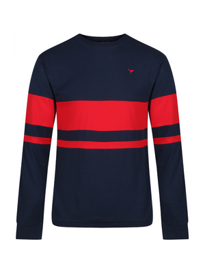 Blakeney Long Sleeved T-Shirt - Navy/Red - Whale Of A Time Clothing