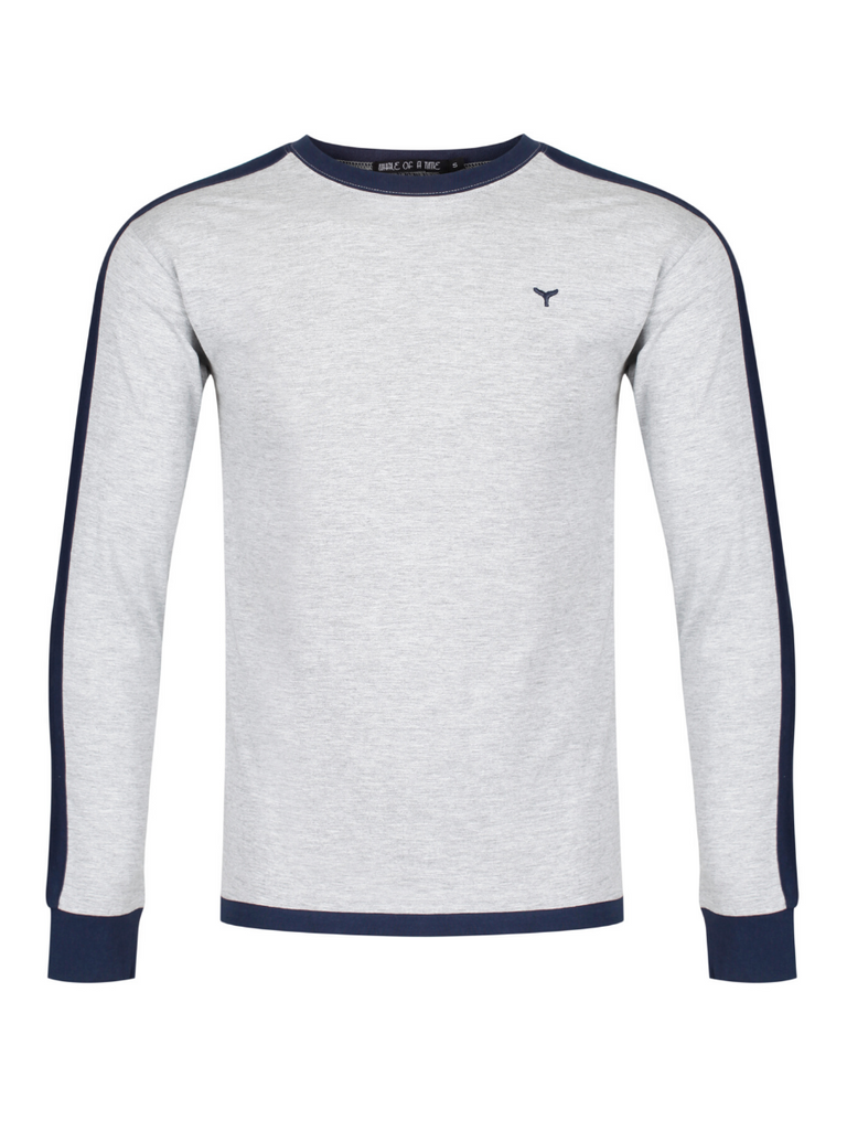 Holkham Long Sleeved T-Shirt - Grey/Navy - Whale Of A Time Clothing