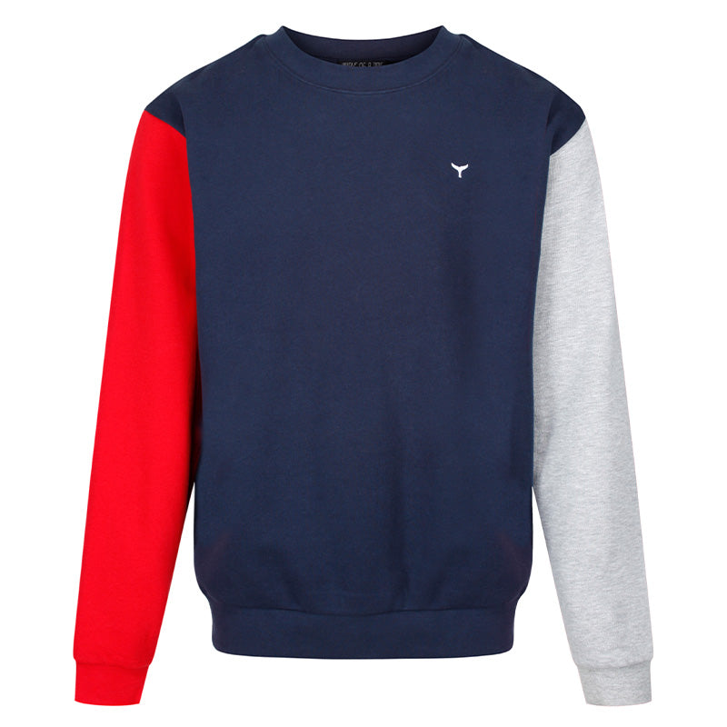 Arnoux Sweatshirt Red/Navy/Grey - Whale Of A Time Clothing