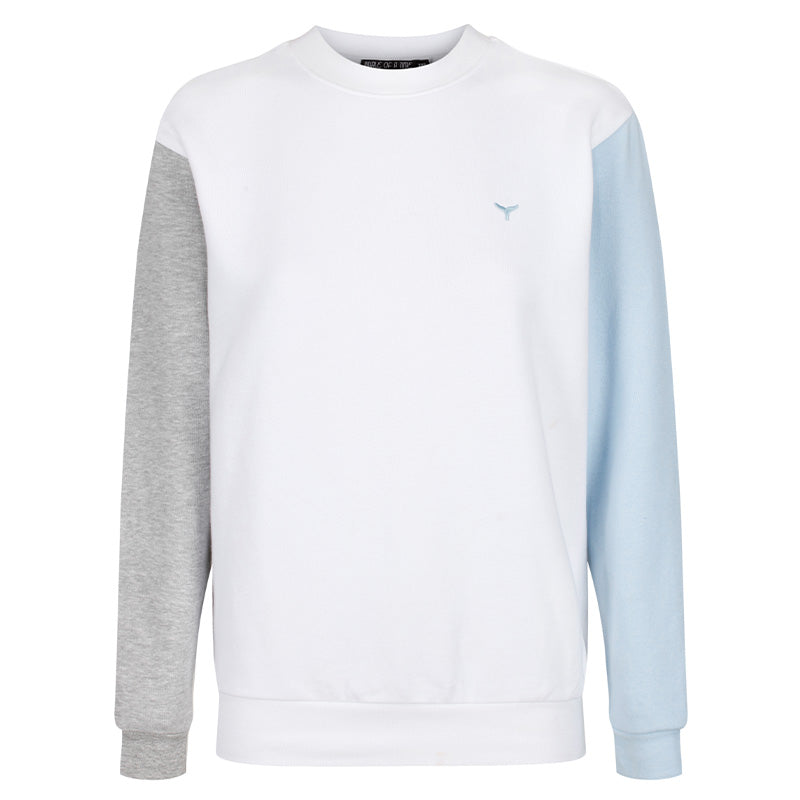 Arnoux Sweatshirt Grey/White/Blue - Whale Of A Time Clothing