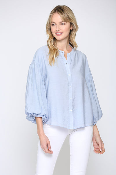 PUFF SLEEVE BUTTON DOWN SHIRT
