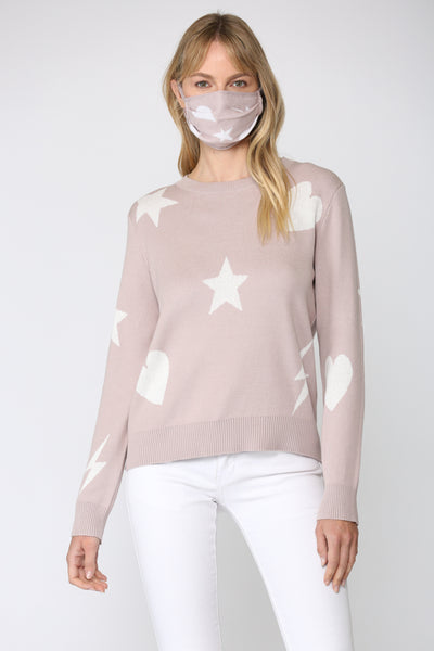 DISTRESSED SWEATER/MATCHING MASK