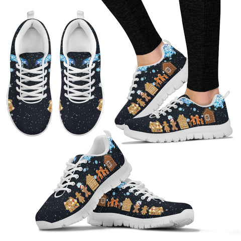Ginger Bread Christmas Women's Sneakers - FamilyTrophy.com