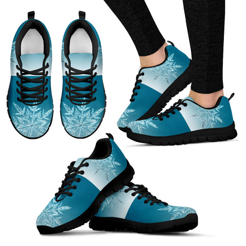 Black Christmas Icy Flakes Women's Sneakers - FamilyTrophy.com