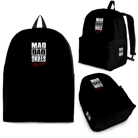 Black Backpack Mad Dad Skills - Premium Quality - Premium Quality Made In USA - Unique Gift For Father From Wife, Daughter, Girlfriend, Fiancée, Backpack, Pillow Profits, FamilyTrophy.com - FamilyTrophy.com