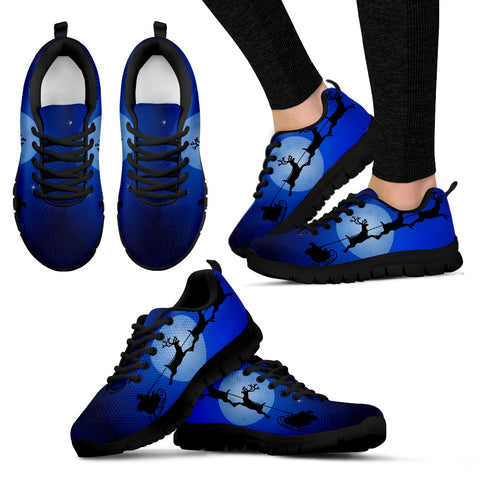 Black Christmas Night Women's Sneakers - FamilyTrophy.com