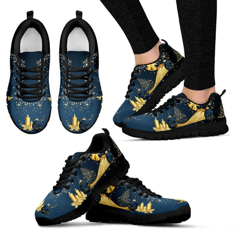 Gold Christmas Women's Sneakers