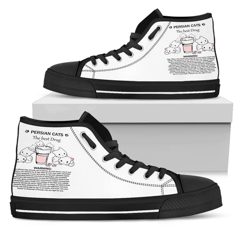 Premium Custom Designed High Top Canvas Shoes Cats The Best Drug - Gift For Cat Lovers - FamilyTrophy.com