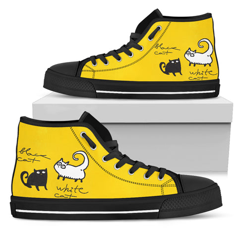 Black and white cat Women's High Top, , FamilyTrophy.com, FamilyTrophy.com - FamilyTrophy.com