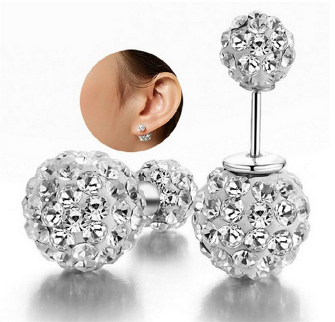 Double Sided Crystal Pearl Beads Earrings Elegant Pair Of Ear Studs Gift, Jewelry, Family Trophy, FamilyTrophy.com - FamilyTrophy.com