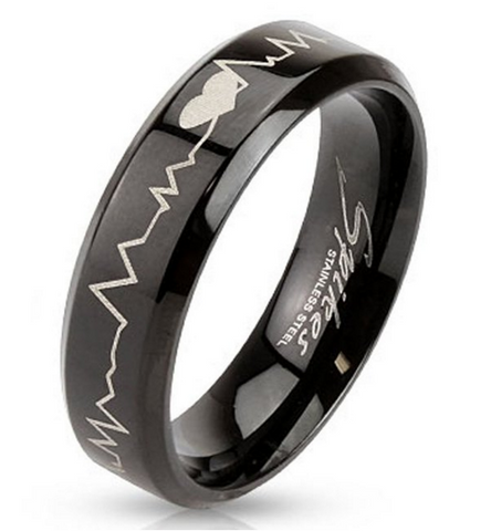 Stainless Steel Black Laser Etched Band Ring with Heartbeat Perfect Gift For Him & Her!, Jewelry, Family Trophy, FamilyTrophy.com - FamilyTrophy.com