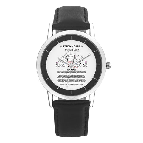 Black Leather Strap Wrist Watch - Persian Cat Therapy - Gifts For Serious Cat Moms + Surprise Gift, , FamilyTrophy.com, FamilyTrophy.com - FamilyTrophy.com