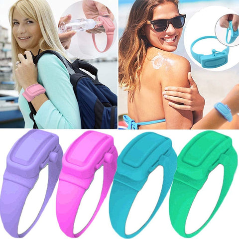 Hand Sanitizer Wearable Bracelet - Liquid Hand Sanitizer Disinfectant Dispenser - Fun Wearable Silicone Bracelet Wristband - Portable Watchband To Sanitize & Disinfect Dirty Hands - Perfect Gift For Kids & Adults To Stay Safe, Healthy & Clean Anywhere