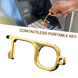Door Opener Touch Free - Germ, Bacteria & Virus Free Health Protector Key & Keychain All In One Gadget – Portable Press Elevator Tool For Skin & Hand Hygiene - No Touch Alloy Metal EDC Device - Covid, Social Distancing, Pandemic Don't Touch Handle