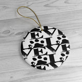 Ceramic Ornaments For Cat Mom & Dad - Love Cat Paw Ornament Holiday Gift For Children