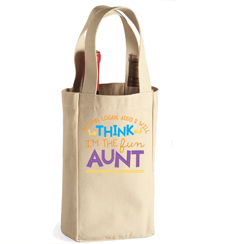 Personalized Aunt's 1 Winebag, Wine Bag, Trexify, FamilyTrophy.com - FamilyTrophy.com