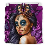Bedding Set Calavera (Violet on Black), , FamilyTrophy.com, FamilyTrophy.com - FamilyTrophy.com