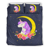 Dark Blue Starry Night Crescent Moon Unicorn Bedding Set