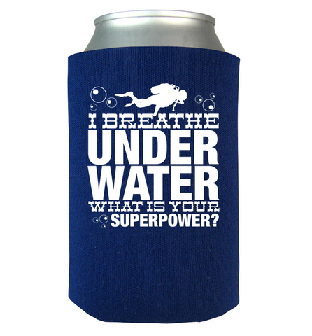 I  Breath Underwater Koozie, Can Wrap, Trexify, FamilyTrophy.com - FamilyTrophy.com