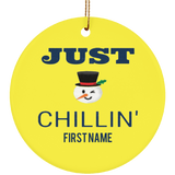 Personalized Ceramic Ornaments For Children - Just Chillin Snowman Kid's First Name Personalization Ornament Holiday Gift