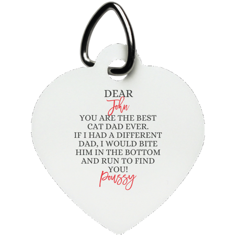 Funny Father's Day Gift For Dad From Wife, Daughter, Son, Stepdaughter, Stepson, Mom, Grandma, Mother In Law (5unny persian cat dad UN5770 Heart Pet Tag)
