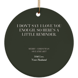 Personalized Ceramic Christmas Ornaments For Wife From Husband - Hubby Love Message to Wife First Name Holiday Gift