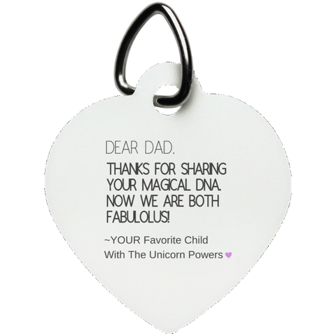 Funny Father's Day Gift For Dad From Wife, Daughter, Son, Stepdaughter, Stepson, Mom, Grandma, Mother In Law (9 dna unicorn dad UN5770 Heart Pet Tag)