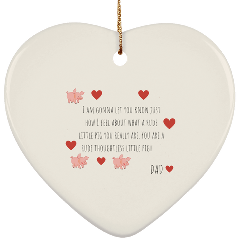 Funny Father's Day Gift For Dad From Wife, Daughter, Son, Stepdaughter, Stepson, Mom, Grandma, Mother In Law (9 Months SUBORNH Ceramic Heart Ornament)