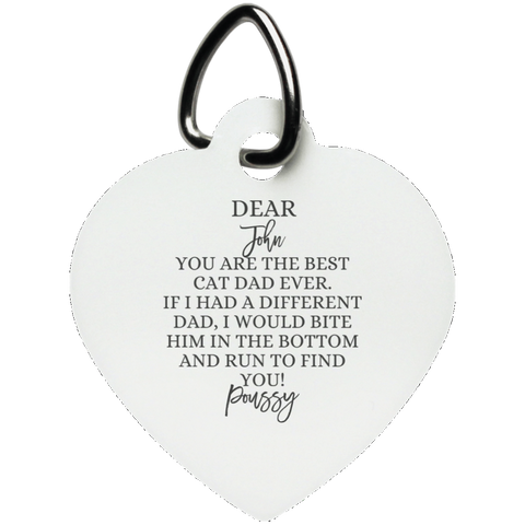 Funny Father's Day Gift For Dad From Wife, Daughter, Son, Stepdaughter, Stepson, Mom, Grandma, Mother In Law (UN5770 Heart Pet Tag)
