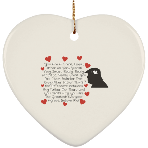 Funny Father's Day Gift For Dad From Wife, Daughter, Son, Stepdaughter, Stepson, Mom, Grandma, Mother In Law (Add heading (5)transp backgr SUBORNH Ceramic Heart Ornament)