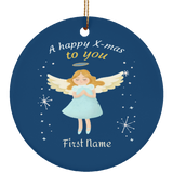 Personalized Ceramic Ornaments For Kids - Angle First Name Personalization Holiday Gift For Children