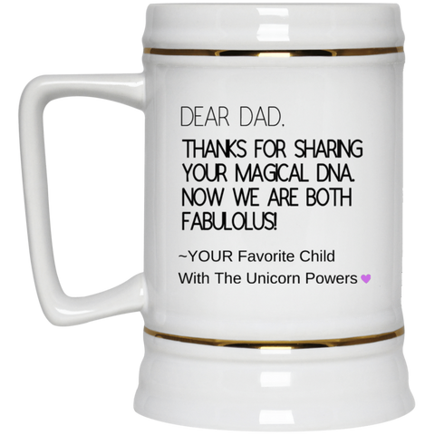 Funny Father's Day Gift For Dad From Wife, Daughter, Son, Stepdaughter, Stepson, Mom, Grandma, Mother In Law (9 dna unicorn dad 22217 Beer Stein 22oz.)