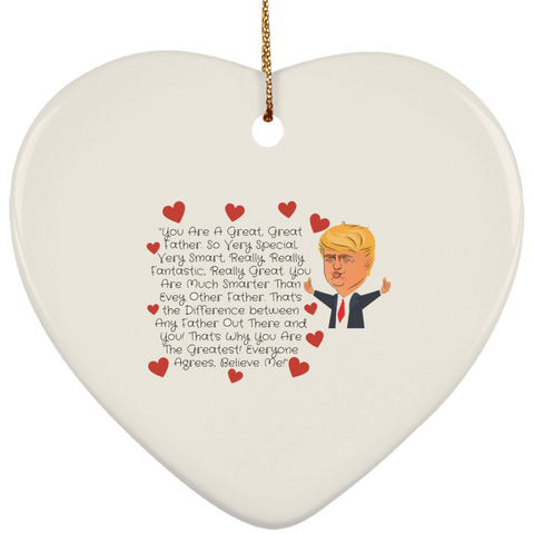 Funny Father's Day Gift For Dad From Wife, Daughter, Son, Stepdaughter, Stepson, Mom, Grandma, Mother In Law ((7)transp backgr SUBORNH Ceramic Heart Ornament))