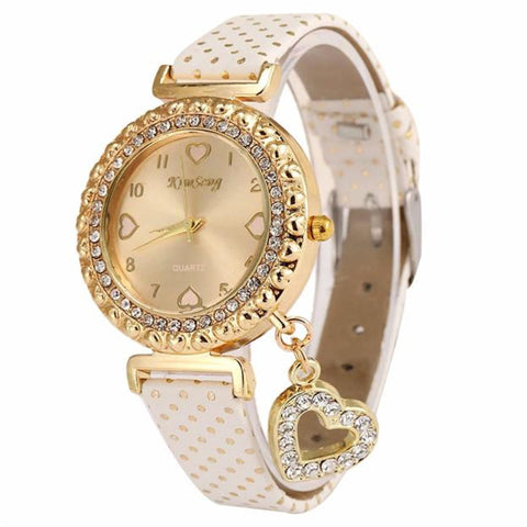 Fashion Love Heart Bracelet Watches Women Leather Crystal Quartz Wrist Watch Gold Clock Relojes Mujer Relogio Feminino Montre - Free + Shipping, Women's Watches, Sumjack watchout Store, FamilyTrophy.com - FamilyTrophy.com