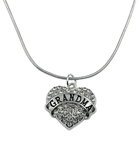 Grandma Crystal Heart Necklace, Jewelry, Trexify, FamilyTrophy.com - FamilyTrophy.com