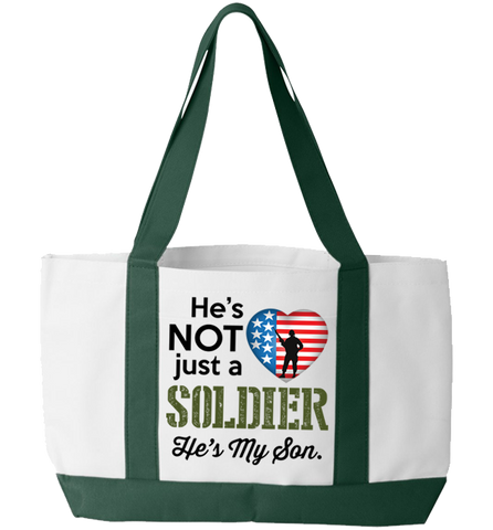 He's Not Just A Soldier Totebag, Tote Bag, Trexify, FamilyTrophy.com - FamilyTrophy.com