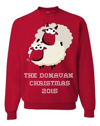 Tacky Christmas Jumper For Bad Boys & Girls - Family Name Personalized Fun & Ugly Christmas Sweater For The Holiday Season 2015 - The Year Of The Sheep Gift, Apparel, Trexify, FamilyTrophy.com - FamilyTrophy.com