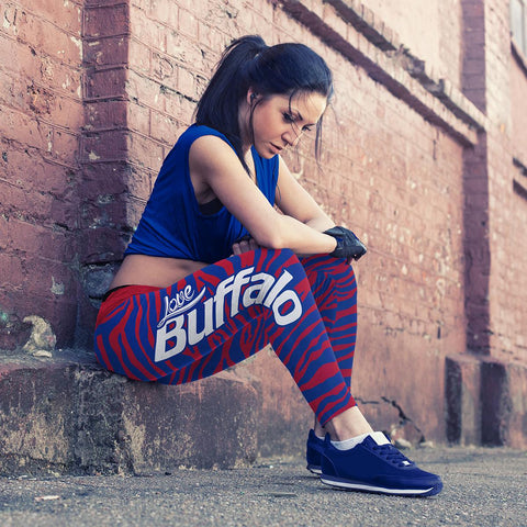 Buffalo Football Striped Leggings, Leggings, Xlusion, FamilyTrophy.com - FamilyTrophy.com