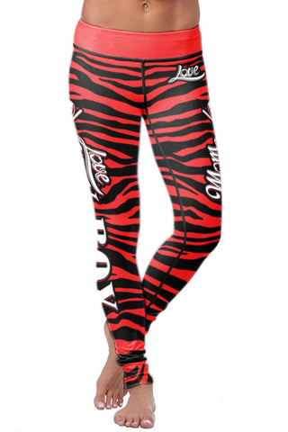 Baseball Mom Striped Leggings, Leggings, Xlusion, FamilyTrophy.com - FamilyTrophy.com