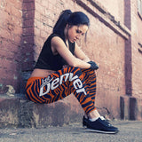 Denver Football Striped Leggings, Leggings, Xlusion, FamilyTrophy.com - FamilyTrophy.com
