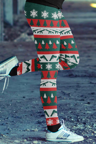 Gun Ugly Christmas Classic Leggings, Leggings, Xlusion, FamilyTrophy.com - FamilyTrophy.com