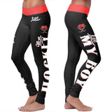 Black Hockey Mom Leggings, Leggings, Xlusion, FamilyTrophy.com - FamilyTrophy.com