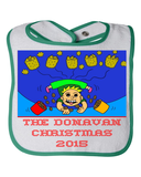 Baby Bib Farty High In The Air Christmas - Personalized Family Name Christmas 2015 - Perfect Comic Christmas 2015 Gift For Babies With Humor Parents - Funny Christmas Fart Bib For Baby, Bib, Family Trophy, FamilyTrophy.com - FamilyTrophy.com