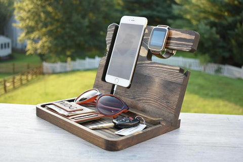 Wooden Docking Station - Unique Holiday Gift For Men & Husband From Wife - Anniversary, Fathers Day Gift