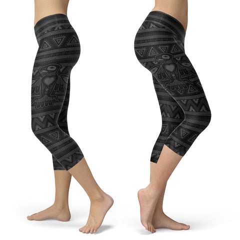 Black Native Bird Pattern Capris, Capris, Xlusion, FamilyTrophy.com - FamilyTrophy.com