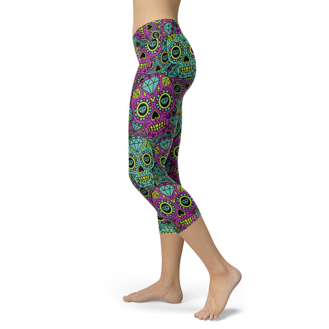Purple and Blue Sugar Skull Capris, Capris, Xlusion, FamilyTrophy.com - FamilyTrophy.com